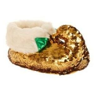 Holiday Time Adult Sequin Christmas Elf Slippers